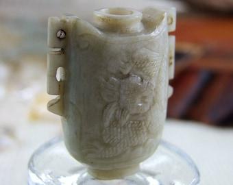 Antique Natural Hetian Jade - Vase Shape-Dragon & Phoenix Carving