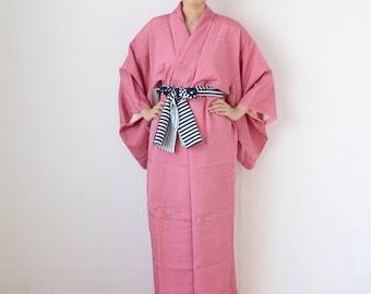 Japanese pink Kimono, maxi kimono, vintage dress, dark pink kimono, kimono dress, wrap dress, gift for her, unique gift, kimono  /970
