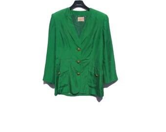 1970s jacket//vintage jacket//green jacket//silk//size 8 uk 4 us//