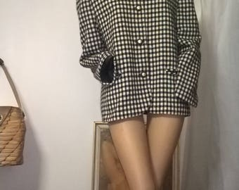 Vintage 80s Katies black and white checked collarless blazer  jacket size 16