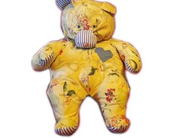 "Handmade ""Ursa Mega"" PLUSH TEDDY BEAR ~ Yellow Floral Watercolor ~ Bear Chair ~ Safety Eyes"