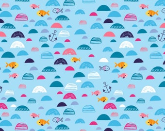 Fish in the Sea - Blue , Cotton Lycra Jersey Knit Fabric