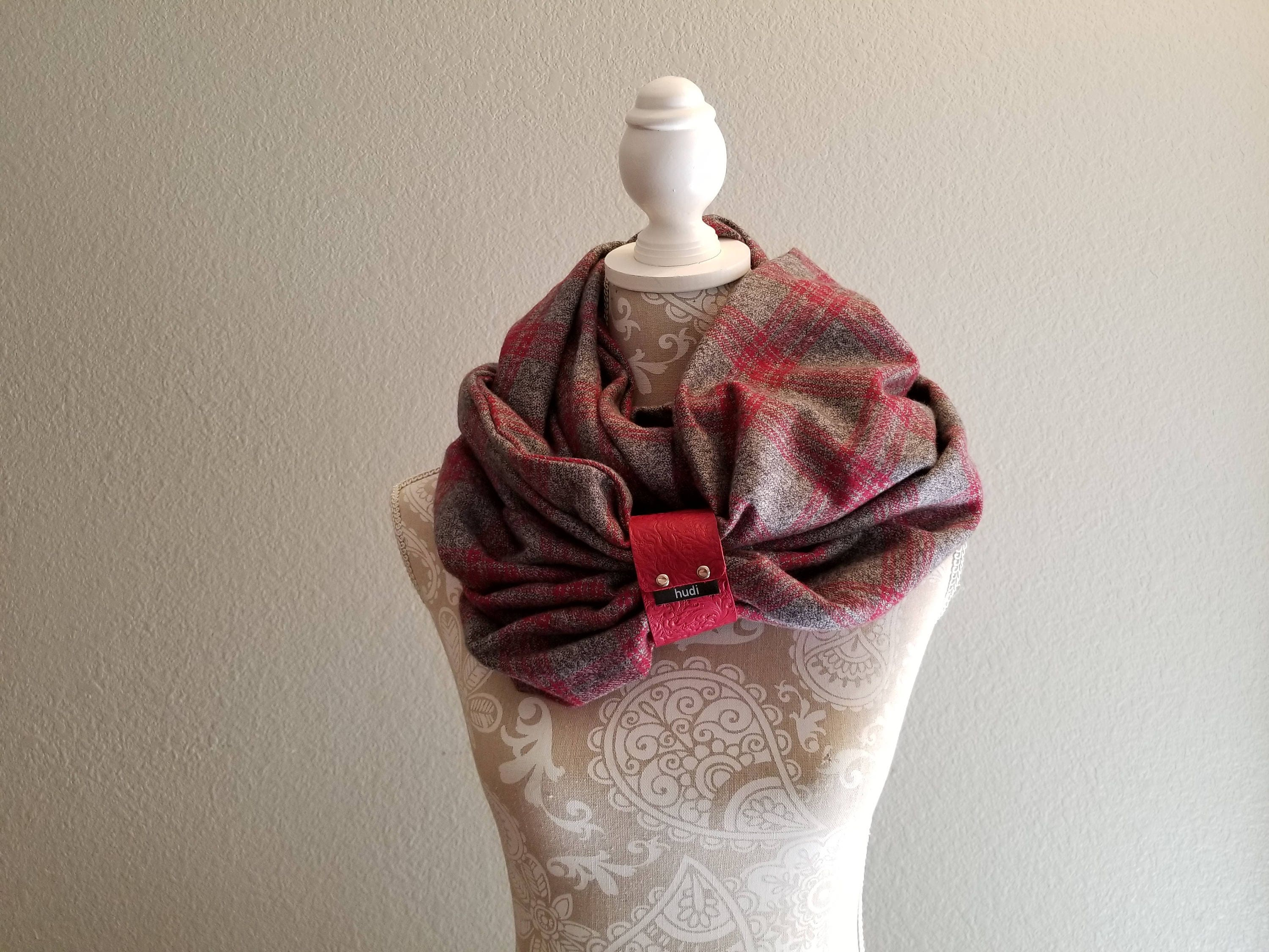 infinity scarf for women with leather cuff womens winter accessory plaid scarf leather - Christmas Plaid Scarf