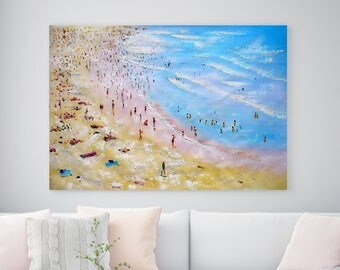 "Large Original Oil Painting Canvas wall art salon painting Huge People Seascape Beach Painting landscape 39"" X 63"" Inches (100 cm x 160 cm)"