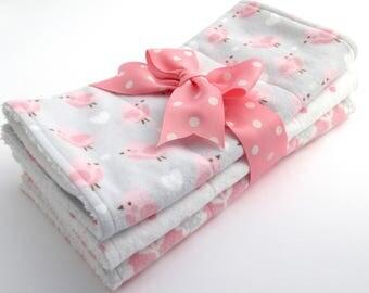 Baby Burp Cloth Set - Set of 3 - Baby Girl - Pink, Gray, White Bird and Heart Print, Pink Polka Dot, Pink & Gray Flower - White Terrycloth