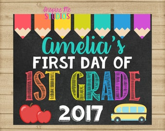 First Day of First Grade Chalkboard / School Sign / First Day of School Chalkboard Printable / Back to School / First Day of First Grade