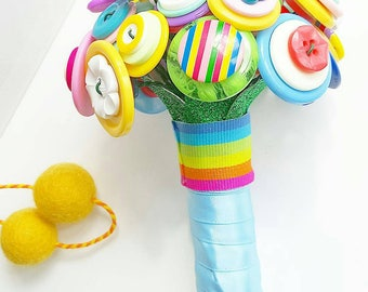 Bright as a button flower girl bouquet - keep me forever