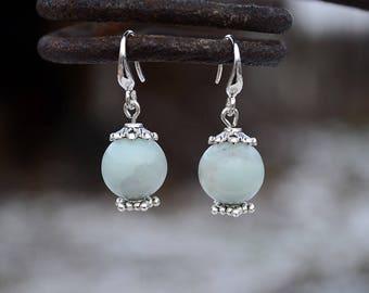 Amazonite earrings, Amazonite silver earrings, French hook amazonite earrings, Silver earrings amazonite, Amazonite drop earrings.