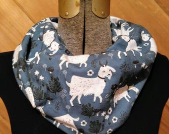 FREE SHIPPING Goats Handmade Fabric infinity scarf - stretch jersey - cowl