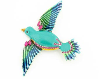 Teal Blue Bird Brooch, Blue Bird Broach, Teal Blue Bird Jewelry Component, Teal Blue DIY Craft Supply Embellishment