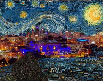 Kansas City Art, Starry Night Skyline, van Gogh Royals, Original Photo + Vincent, Kansas City Union Station