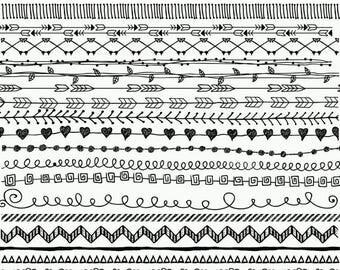 "40%SALE Doodle borders clipart: ""BORDERS CLIP Art"" Hand Drawn Clipart Doodle Clipart Doodle Graphics Doodle Overlay Doodles Download"