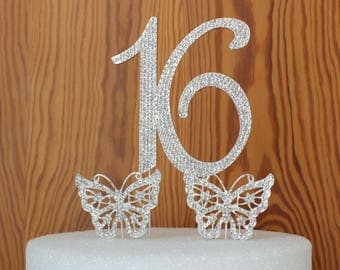 "Sweet ""16"" birthday cake topper made with silver crystal rhinestones plus 2 crystal rhinestone butterfly's"