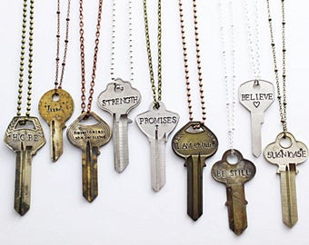 Personalize Your Own Stamped Key Necklace / Key Jewelry / Vintage Key / Dainty Necklace / Engraved Key / Antique Key / Skeleton Key / Boho