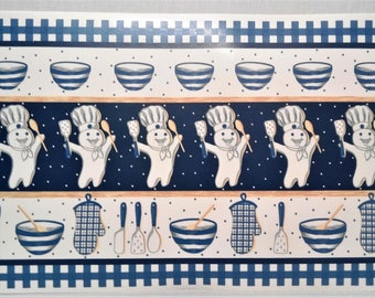 Place Mats Pillsbury DOUGH BOY Poppin Fresh Water-Proof Vinyl Set of 5 Kitchen Table Decor ~ Blue White Beige Tan Made in China Vintage 1997