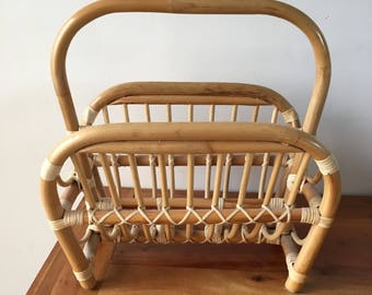 Mid Century Bamboo Magazine Rack Holder