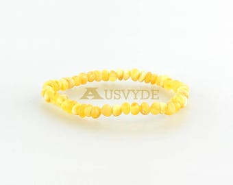 Unpolished (Raw) Amber bracelet jewelry. Butter Amber. Raw Amber. Beaded. Baroque Amber style. For Teens. rehabilitative medicine. 5705