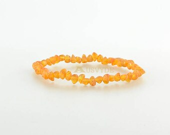 Baltic amber raw beads bracelet, Raw amber, Baltic amber jewelry for women or girls, Fashion style, 6053