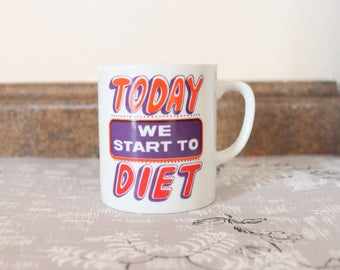 1980's Neon Diet Mug for Procrastinators in Purple and Red . Weight Watchers Jenny Craig Curves . Funny Gift for Anyone . Gentle Reminders