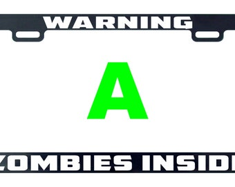 Warning zombies inside license plate frame tag holder decal sticker