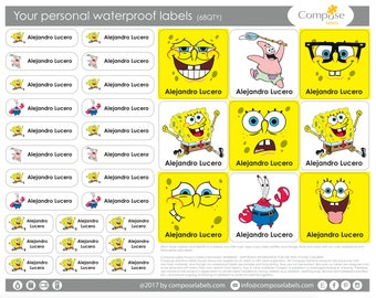 Sponge Bob - Your personal waterproof labels (68 Qty) Free Shipping