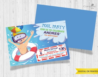 Pool Party - Invite your guests with personalized party invitations - Digital or Printed - Birthday Invitation - Boy Birthday Party