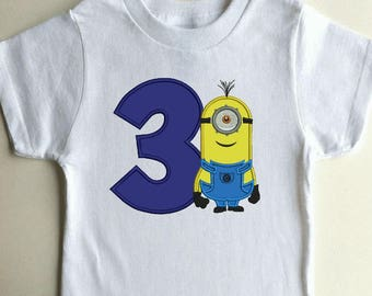 Calvin minions Birthday number 3 applique machine embroidery designs 3 sizes 4x4,5x7,6x10