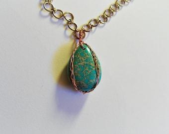 wire wrapped sea sediment jasper necklace pendant