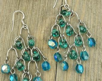Vintage Blue Glass Bead Chandelier Earrings