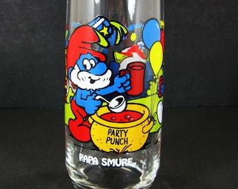 1983 Papa Smurf 16oz Ice Tea Glass Tumbler Peyo Wallace Berrie Hardee's