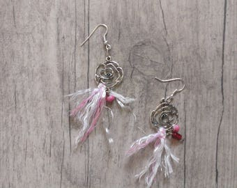 Pink earrings silver metal decorated with beads and wire Indian shaman spirit