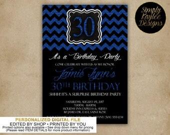 Sparkling Black and Blue Birthday Party Invitation