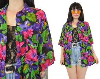 vintage 90s vivid floral shirt slouchy beaded sequin gauzy blouse duster boho hippie medium large