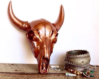 ON SALE Copper Cow Skull - Faux Taxidermy - Faux Cow Skull - Western Decor - Copper Wall Decor - Decorative Skulls - Bohemian Decor - Cattle