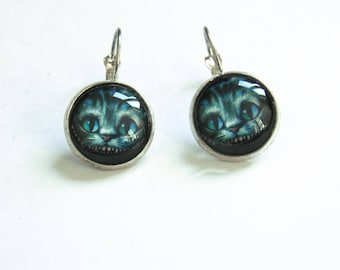 Earrings, Alice in Wonderland silver plated. CAT