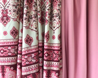 Cozy Lounge Pants in Pink Paisley with beige and green accents
