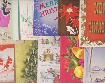 Lot of 10 Vintage Christmas & Holiday Cards, Used, Scrapbook Supplies, Craft Supplies, Card Making, Mixed Media, Ephemera