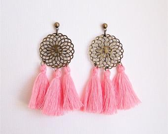 Pink and brass print tassel earrings