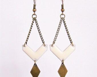 White enameled chevron and diamond brass earrings