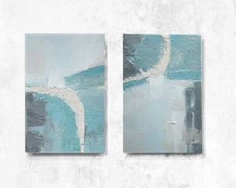 Contemporary Wall Art, Modern Art, pastel colours, ivory, gray and sky- blue , cambridge blue, set of 2 , oil painting , canvas art,