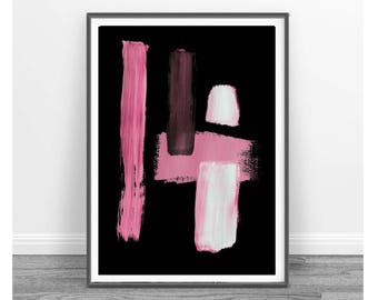 Print abstract, black and pink, contemporary art, modern art, white, abstract, pink and black minimal decor, Watercolour Abstract