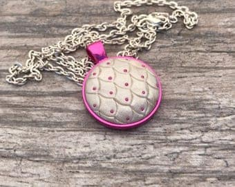 Dragon Scales Pendant. Mermaid Scales Necklace. Magic. Fantasy. Dragon Skin. Dragon Egg. Gifts for Her. Mythological. Pink Dragon.