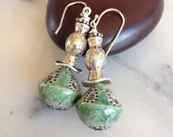 Bohemian earrings, green and black raku pottery craft, Moroccan silver metal bead.