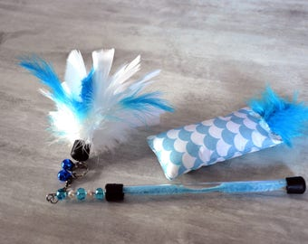 Navy kit - Duster and kitten for cat and kitten - Blue and white