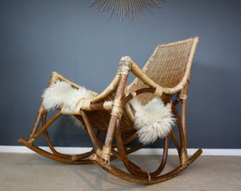 SOLD: Vintage Albini Style Mid Century Bamboo Rattan Rocking Chair Retro 50s 60s 70s