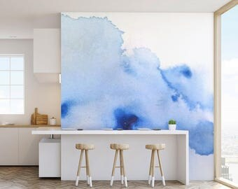 Watercolour Wash Wall Mural, Paste and Glue or Self Adhesive Wallpaper, Blue and White Wall Decor