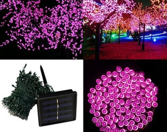 200 LEDs Pink 72ft. Waterproof Lights 8 Modes Solar Powered Outdoor String Lights ------ PINK ------ USA Seller ------ Fast Shipping