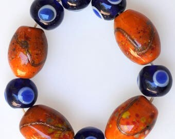Set of 10 Vintage Czech Glass Lampwork Beads - Handmade Beads - Cobalt Blue & Rusty Orange