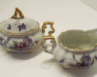 Minature Violet Creamer and Sugar Set - No Mark