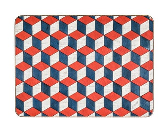 6 Red Placemats Retro Place mats Red White Blue Table mats Anniversary Gift Art Deco Engagement Gift Geometric Mid Century E Inder Designs
